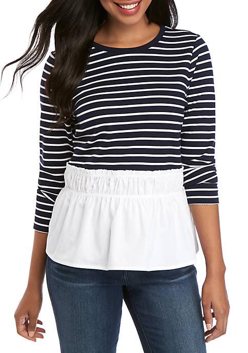 Crown & Ivy™ Short Sleeve Ribbed Hem Top