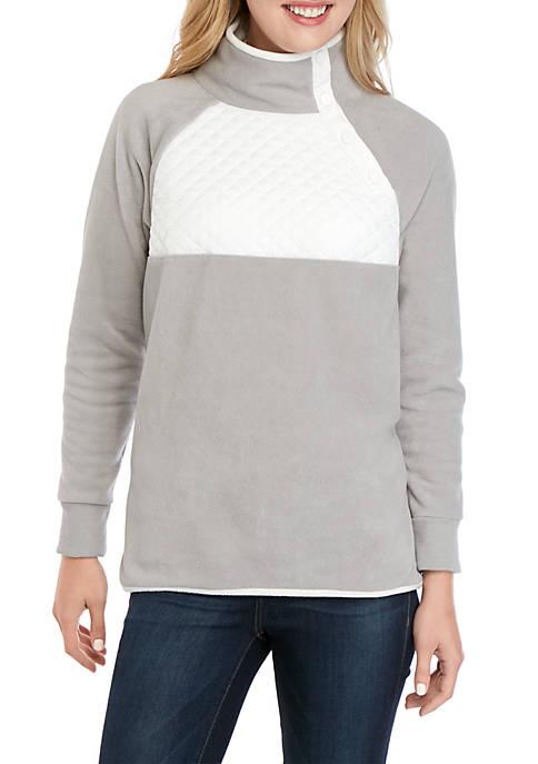 Crown & Ivy™ Side Snap Mock Neck Pullover