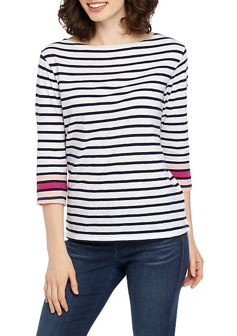 Crown & Ivy™ Boat Neck Stripe Print Top