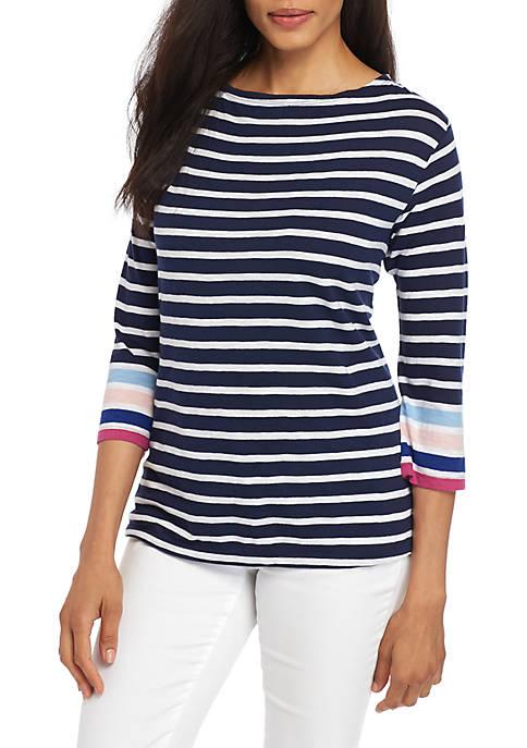 Crown & Ivy™ Womens Boat Neck Stripe Print