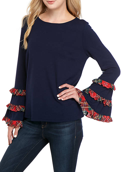 Crown & Ivy™ Long Ruffle Bell Sleeve Top