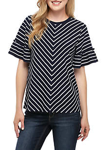 Crown & Ivy™ Stripe Short Sleeve Top