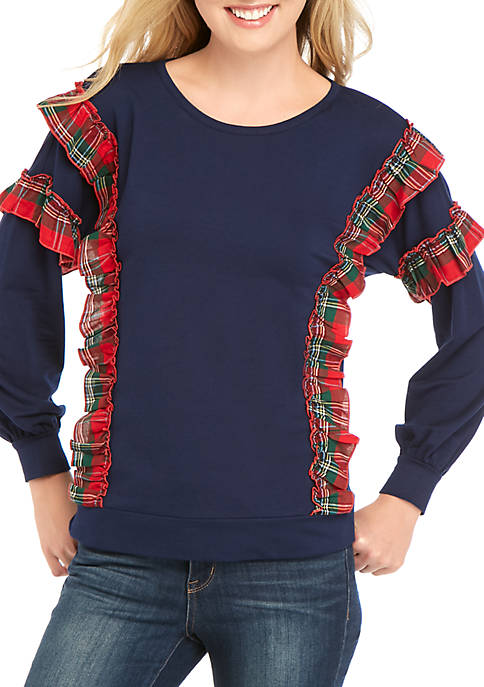 Crown & Ivy™ Long Sleeve Ruffle Sweatshirt
