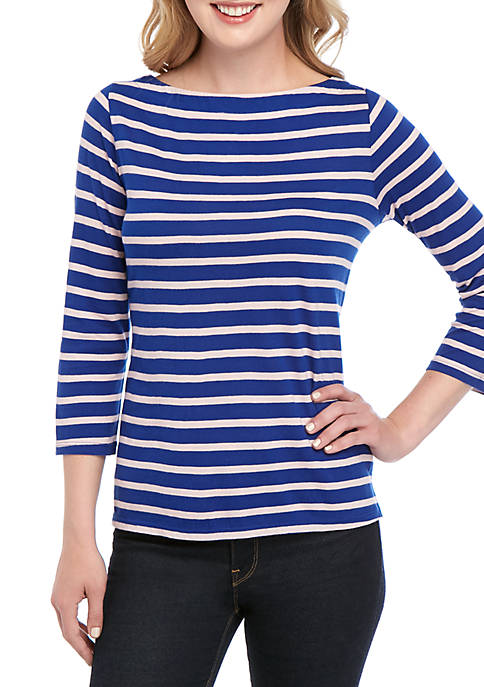 Crown & Ivy™ 3/4 Sleeve Everyday Fit Boat