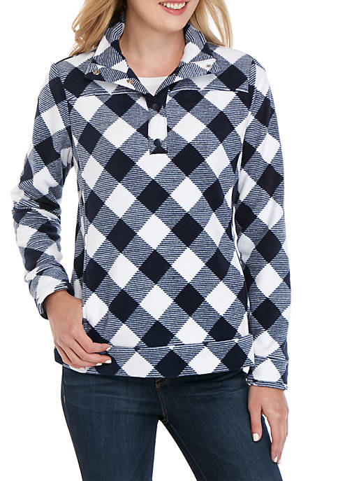 Crown & Ivy™ Long Sleeve Fleece Mock Neck