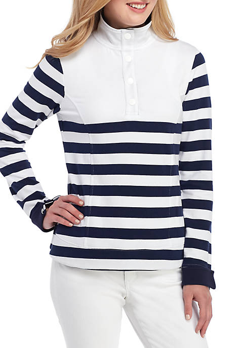 Crown & Ivy™ Womens Long Sleeve Stripe Pullover