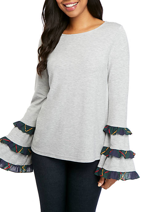 Crown & Ivy™ Long Sleeve Woven Ruffle Bell