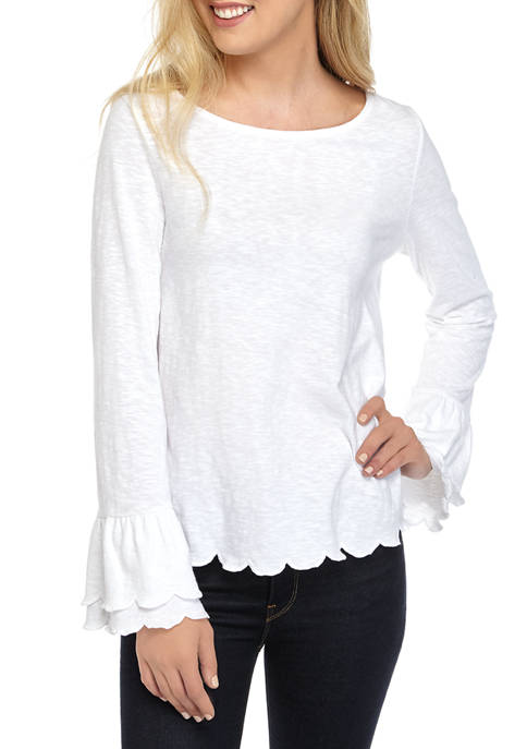 Crown & Ivy™ Womens Long Sleeve Ruffle Solid