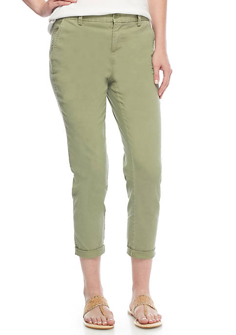 Crown & Ivy™ Skinny Leg Crop Solid Jeans