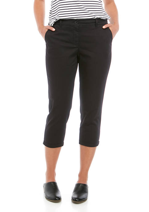 Crown & Ivy™ Womens Rolled Chino Cropped Pants