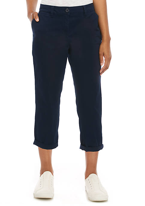 Crown & Ivy™ Enzyme Wash Straight Twill Pants