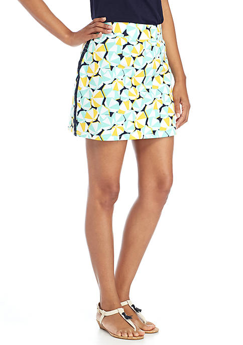 Crown & Ivy™ Crochet Trim Print Skort
