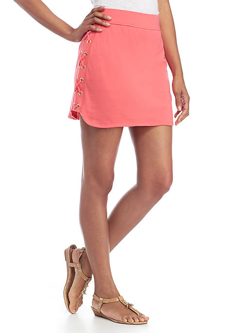 Crown & Ivy™ Side Tie Lace-Up Skort