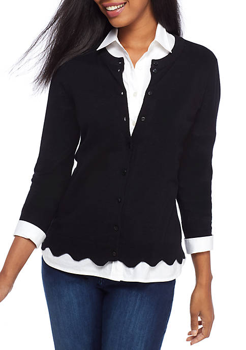 Crown & Ivy™ Scalloped Cardigan