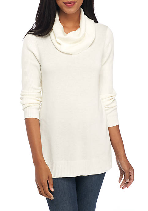 Crown & Ivy™ Long Sleeve Ribbed Cowl Neck