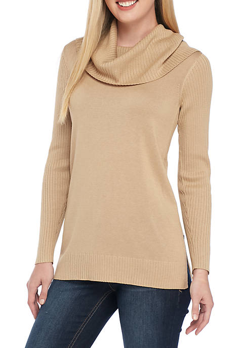 Long Sleeve Ribbed Cowl Neck Solid Sweater