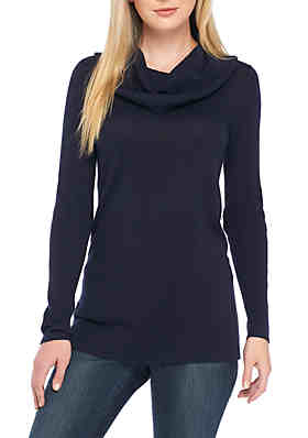 3097a41e3ad Crown   Ivy™ Long Sleeve Ribbed Cowl Neck Solid Sweater ...
