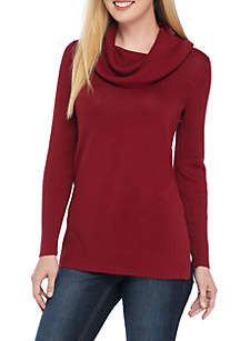 Crown & Ivy™ Long Sleeve Ribbed Cowl Neck Solid Sweater