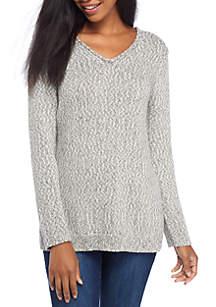 Long Sleeve Double V-Neck Sweater
