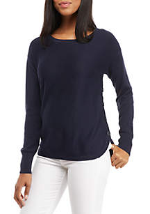 Long Sleeve Side Button Solid Sweater