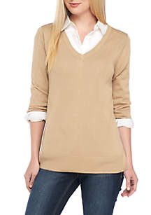 Crown & Ivy™ Long Sleeve V-Neck Solid Knit Sweater