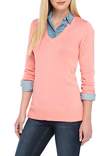 Long Sleeve V-Neck Solid Knit Sweater