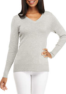 Long Sleeve V-Neck Solid Heather Sweater