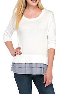 Long Sleeve Double 2Fer Solid Sweater