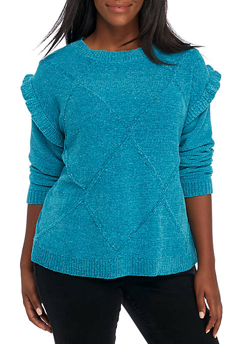 Crown & Ivy™ Long Ruffle Sleeve Solid Sweater