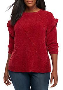 Long Ruffle Sleeve Solid Sweater