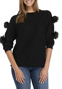 Crown & Ivy™ Long Pom Sleeve Sweater