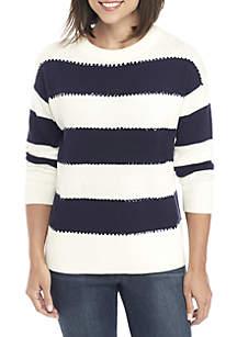 Three-Quarter Sleeve Texture Sweater