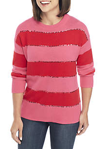 Crown & Ivy™ Three-Quarter Sleeve Texture Sweater