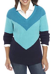 Three-Quarter Sleeve Chevron V-Neck Sweater