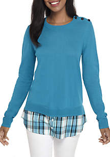 Long Sleeve Button Neck 2Fer Solid Top
