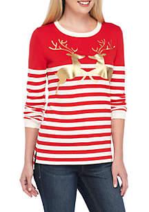 Long Sleeve Striped Deer Sweater