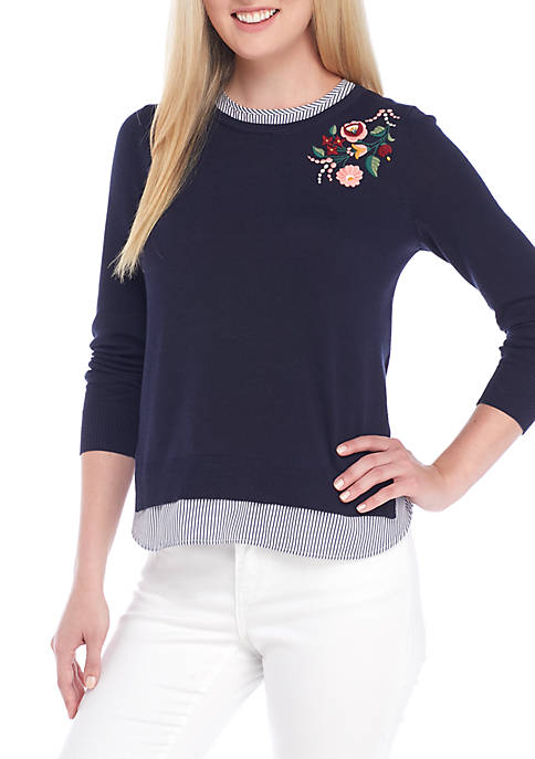 Crown & Ivy™ Embroidered 2Fer Sweater
