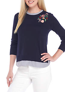 Embroidered 2Fer Sweater