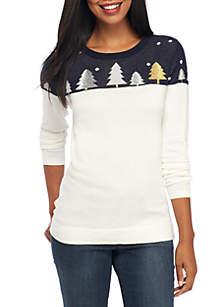 Long Sleeve Solid Yoke Sweater