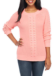 Long Sleeve Popcorn Solid Sweater