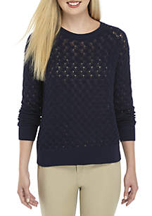 Crown & Ivy™ Long Sleeve Cable Sweater