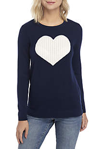 Long Sleeve Heart Cable Knit Sweater