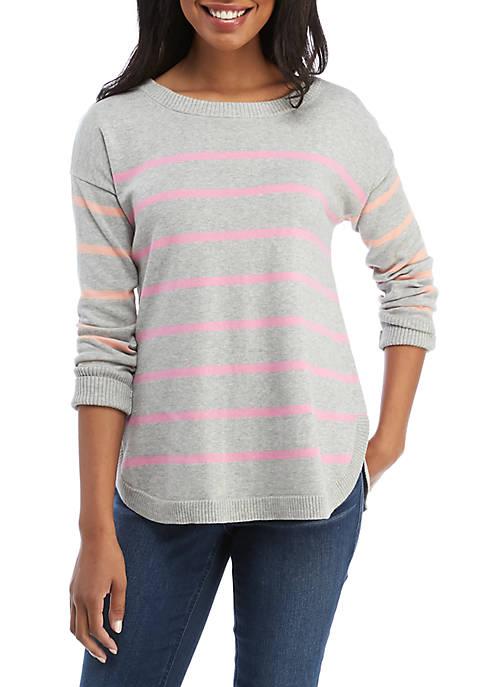 Crown & Ivy™ Long Sleeve Stripe Crew Neck