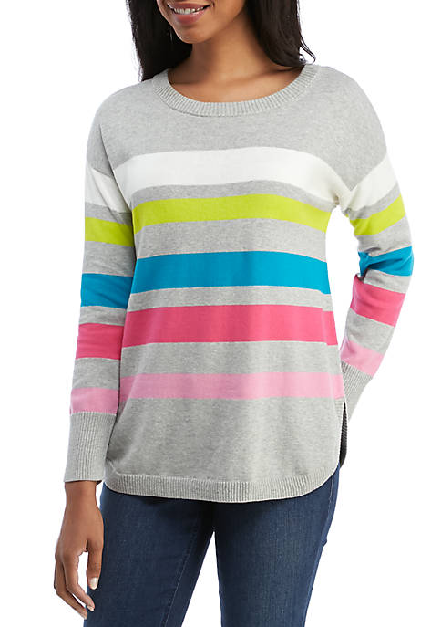Crown & Ivy™ Long Sleeve Stripe Crew Neck