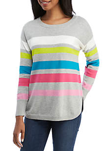 Crown & Ivy™ Long Sleeve Stripe Crew Neck Sweater