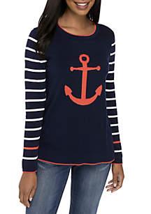 Petite Long Sleeve Anchor Sweater