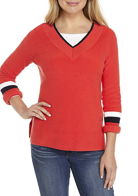 Crown & Ivy™ Long Sleeve V-Neck Varsity Sweater