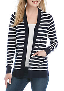 182c286d1eb New Directions® Textured Roll Sleeve Jacket · Crown   Ivy™ Long Sleeve  Stripe Cardigan