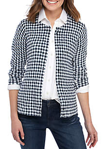 Crown & Ivy™ Long Sleeve Checkered Cardigan