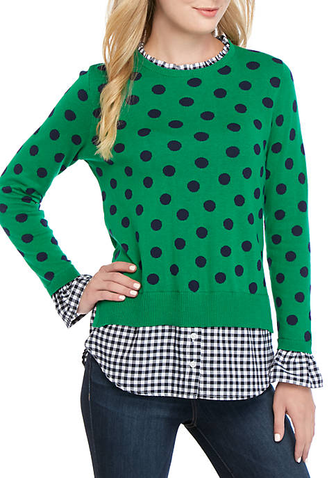Long Sleeve Ruffle Neck Printed 2Fer Top